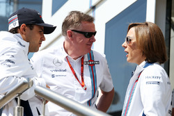(L to R): Felipe Massa, Williams with Mike O'Driscoll, Williams Group CEO and Claire Williams, Williams Deputy Team Principal