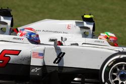Romain Grosjean, Haas F1 Team VF-16 and team mate Esteban Gutierrez, Haas F1 Team VF-16 battle for position