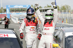 Race winner Timo Scheider, Audi Sport Team Abt Audi A4 DTM celebrates with Mattias Ekström, Audi Sport Team Abt