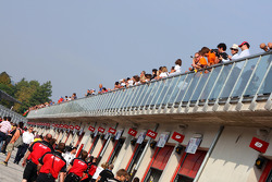 Fans above the pit lane