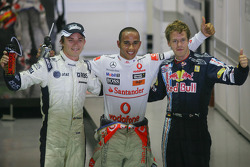 Nico Rosberg, Williams F1 Team, Lewis Hamilton, McLaren Mercedes and Sebastian Vettel, Red Bull Racing
