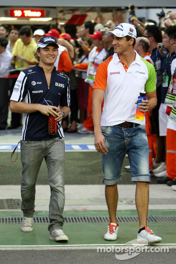 Nico Rosberg, WilliamsF1 Team, Adrian Sutil, Force India F1 Team