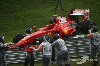 Car of Giancarlo Fisichella, Scuderia Ferrari is lifted