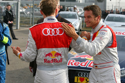 Timo Scheider, Audi Sport Team Abt congratulates Mattias Ekström, Audi Sport Team Abt with his pole position