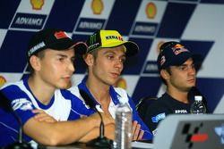Post-qualifying press conference: pole winner Valentino Rossi, Fiat Yamaha Team with second place Jorge Lorenzo, Fiat Yamaha Team, and third place Dani Pedrosa, Repsol Honda Team