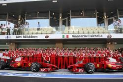 Scuderia Ferrari team photo, Marc Gene, Test Driver, Scuderia Ferrari, Kimi Raikkonen, Scuderia Ferrari, Stefano Domenicali, Scuderia Ferrari, Sporting Director, Chris Dyer, Scuderia Ferrari, Track Engineer of Kimi Raikkonen, Giancarlo Fisichella, Luca Ba