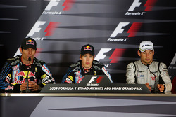 Post-race press conference: race winner Sebastian Vettel, Red Bull Racing, with second place Mark Webber, Red Bull Racing