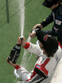 2009 F2 Champion Andy Soucek and Robert Wickens celebrate on the podium