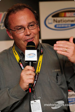 NASCAR Director of Cost and Research Brett Bodine answers questions from the media