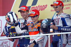 Podium: race winner Dani Pedrosa, Repsol Honda Team, second place Valentino Rossi, Fiat Yamaha Team, third place Jorge Lorenzo, Fiat Yamaha Team