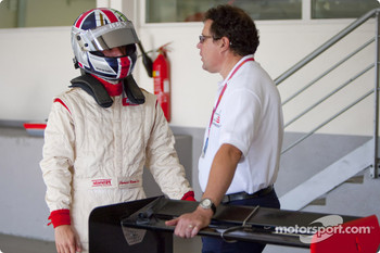Bernard Romain with Didier Perrin, GP3 Technical Director before his run in the GP3 car