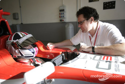 Bernard Romain with Didier Perrin, GP3 Technical Director before his run in the GP3 Series car