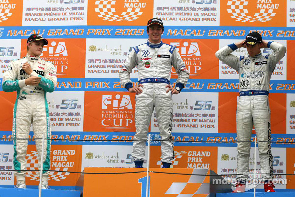 Podium: race winner Jean-Karl Vernay, Signature, second place Marcus Ericsson, Tom's, third place Edoardo Mortara, Signature