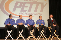 Richard Petty Motorsport drivers Elliott Sadler, Paul Menard, Kasey Kahne and A.J. Allmendinger with team owner Foster Gillett on right side