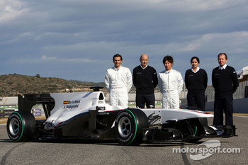 Pedro de la Rosa, BMW Sauber F1 Team, Peter Sauber, BMW Sauber F1 Team, Team Principal, and Kamui Kobayashi, BMW Sauber F1 Team, Monisha Kaltenborn Managing director of Sauber, Willy Rampf, BMW-Sauber, Technical Director with the C29