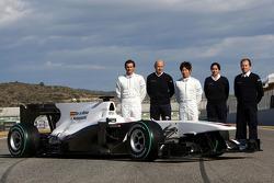 Pedro de la Rosa, BMW Sauber F1 Team, Peter Sauber, BMW Sauber F1 Team, Team Principal, and Kamui Kobayashi, BMW Sauber F1 Team, Monisha Kaltenborn Managing director of Sauber, Willy Rampf, BMW-Sauber, Technical Director with the C29