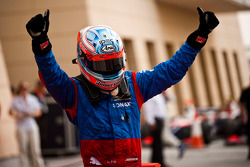 Charles Pic celebrates victory in parc ferme