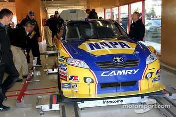 Car of Martin Truex Jr., Michael Waltrip Racing Toyota at tech inspection