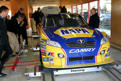 Car of Martin Truex Jr., Michael Waltrip Racing Toyota at tech inspection