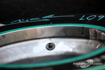 A bridgestone tyre of Michael Schumacher, Mercedes GP