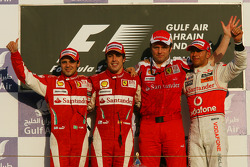 Podium: race winner Fernando Alonso, Scuderia Ferrari, with second place Felipe Massa, Scuderia Ferrari, third place Lewis Hamilton, McLaren Mercedes, and Stefano Domenicali, Scuderia Ferrari Sporting Director