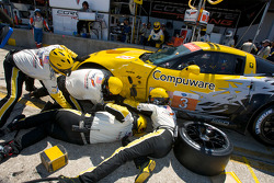 #3 Corvette Racing Chevrolet Corvette ZR1: Jan Magnussen, Johnny O'Connell, Antonio Garcia in the pit after a contact with the #4 Corvette