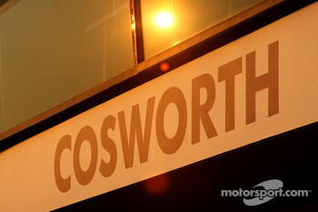The sun sets over the cosworth garage