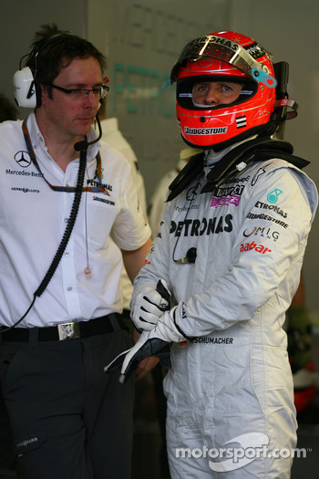 Andrew Shovlin, Mercedes GP, Senior Race Engineer to Michael Schumacher and Michael Schumacher, Mercedes GP