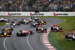 Race Start, Fernando Alonso, Scuderia Ferrari, Jenson Button, McLaren Mercedes, Lewis Hamilton, McLaren Mercedes, Michael Schumacher, Mercedes GP