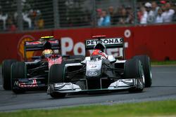 Michael Schumacher, Mercedes GP and Jaime Alguersuari, Scuderia Toro Rosso