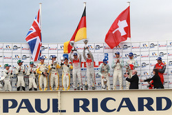 LMP1 podium: class and overall winners Rinaldo Capello and Allan McNish, second place Adrian Fernandez, Harold Primat and Stefan Mücke, third place Andrea Belicchi, Jean-Christophe Boullion and Guy Smith, Michelin Green X Challenge winners Nick Leventis,