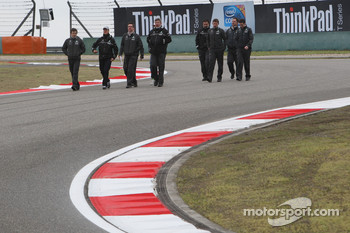 Michael Schumacher, Mercedes GP walk the circuit with Andrew Shovlin, Mercedes GP, Senior Race Engineer to Michael Schumacher, Ross Brawn, Brawn GP, Team Principal