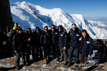 Team Peugeot Total drivers get ready for a day of mountain trekking