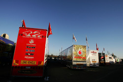 V8 Supercar transporters lined up in the paddock