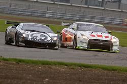 #24 Reiter Lamborghini Murcielago R: Peter Kox, Christopher Haase, #4 Swiss Racing Team Nissan GT-R: Seiji Ara, Max Nilsson