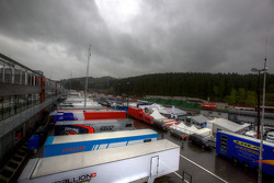 Menacing sky over the Spa paddock