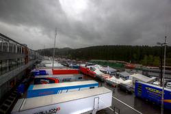 Menacing sky over the Spa paddock
