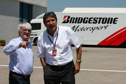 Bernie Ecclestone with Pasquale Lattuneddu, FOM, Formula One Management
