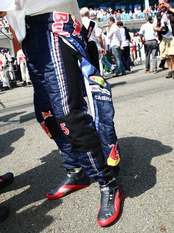 Sebastian Vettel, Red Bull Racing with his lucky coin in his shoe