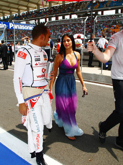 Lewis Hamilton, McLaren Mercedes and Nicole Scherzinger, Singer in the Pussycat Dolls and girlfriend of Lewis Hamilton