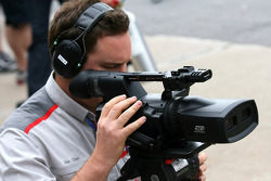 A TV camera man with a 3D camera