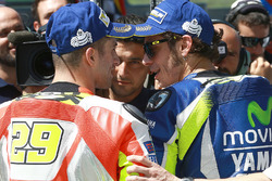 Polesitter Valentino Rossi, Yamaha Factory Racing, third place qualifying Andrea Iannone, Ducati Team