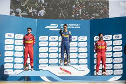 Podium: race winner Sébastien Buemi, Renault e.Dams, second place Daniel Abt, ABT Schaeffler Audi Sport, third place Lucas di Grassi, ABT Schaeffler Audi Sport