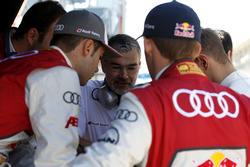 Dieter Gass, Head of DTM Audi Sport with his drivers
