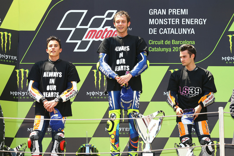 2016: 1. Valentino Rossi, 2. Marc Marquez, 3. Dani Pedrosa