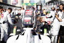 Romain Grosjean, Haas F1, exits his car on the grid