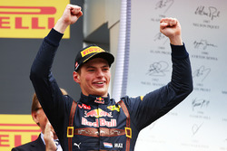 Max Verstappen, Red Bull Racing celebrates his second position on the podium