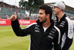 (L to R): Sergio Perez, Sahara Force India F1 with team mate Nico Hulkenberg, Sahara Force India F1