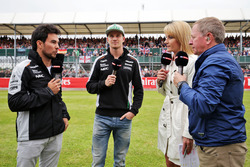 (L to R): Sergio Perez, Sahara Force India F1 and team mate Nico Hulkenberg, Sahara Force India F1 with Rachel Brookes, Sky Sports F1 Reporter and Martin Brundle, Sky Sports Commentator