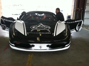 Front view of the new graphics on the Auto Gallery Motorsports Ferrari 458 Italia GT